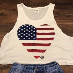 PINK USA American Flag Heart Crop Tank Top